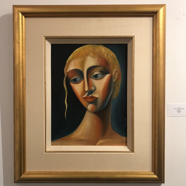 1970s Vintage Yuroz Young Woman Portrait Oil on Board Painting For Sale - Image 10 of 11