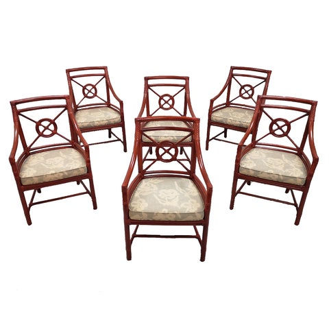 Set of 6 Italian Mid Century Red Bamboo Chippendale Lounge Dining Chairs For Sale - Image 13 of 13