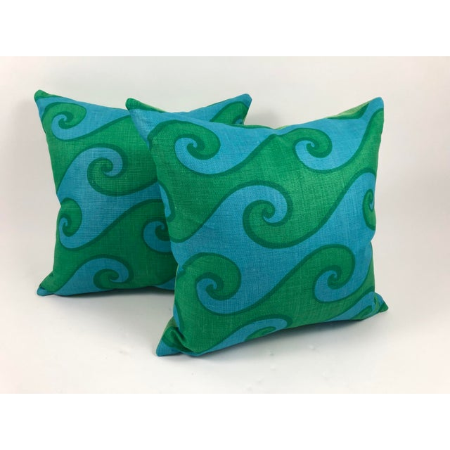 Contemporary Vintage Blue and Green Sea Scroll Pattern Pillows Hand Printed by Elenhank - a Pair For Sale - Image 3 of 12
