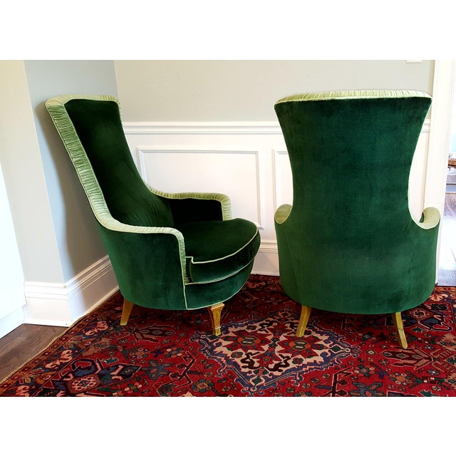 Emerald Green Velvet Club Chairs - A Pair For Sale - Image 5 of 8