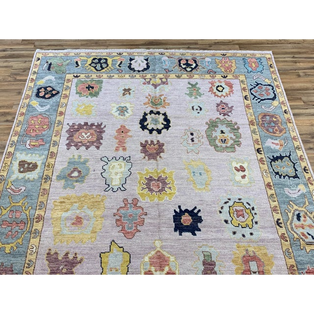 Pale Pink Turkish Oushak, Hand knotted, 100% Wool in size of 8'' x10'