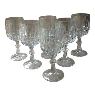 Cut Crystal Wine Glasses - Set of 6 For Sale
