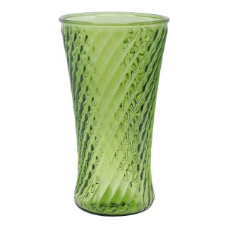 Late 20th Century Pressed Green Glass Vase For Sale