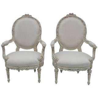 1950s Vintage Louis XV Style Armchairs - a Pair For Sale