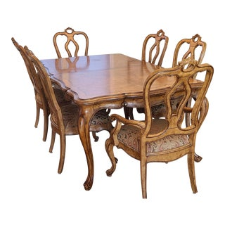 Very Fine Thomasville Hills of Tuscany Light Rustico San Martino Dining Room Table W/ 8 Chairs For Sale