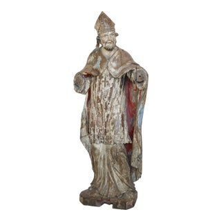 Large Hand-Carved Statue of Catholic Cardinal For Sale