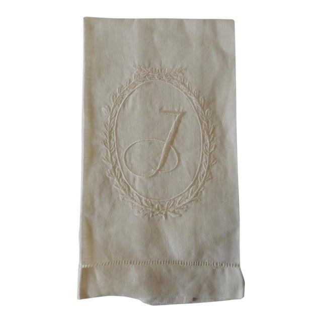 """Vintage """"J"""" Letter Embroidered Bathroom Guest Towel For Sale"""