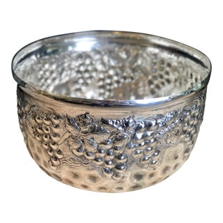 Vintage Silver Plated Bowl Repousse Planter Wine Chiller Ice Bucket Grape Decor For Sale