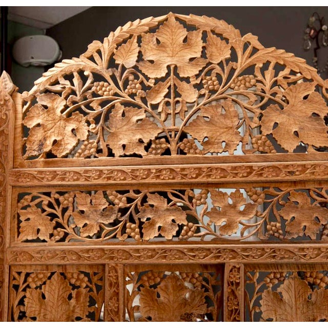 19th Century Anglo-Indian Elaborately Carved Four Panel Screen For Sale - Image 5 of 7