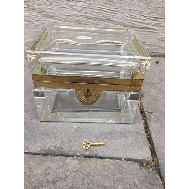 Art Deco Mid-Century Glass and Brass Box With Key For Sale - Image 3 of 10
