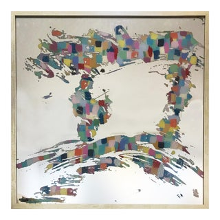 """Stacy Milburn """"Cool Like Amy"""" Contemporary Abstract Colorful Mixed Media Painting on Mirror For Sale"""