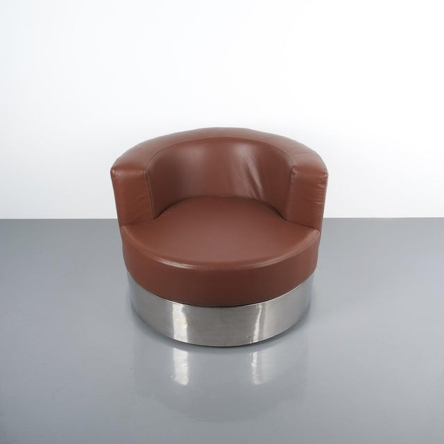 Metal Franco Fraschini Brown Leather Chair for Driade, Italy, 1965 For Sale - Image 7 of 11