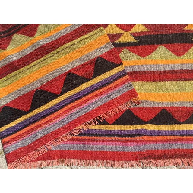 Black Vintage Aztec Kilim Rug For Sale - Image 8 of 9