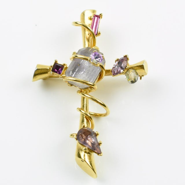 Modern Christian Lacroix Paris Signed Large Jeweled Cross Pin Brooch Pendant For Sale - Image 3 of 7