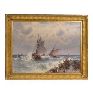 Early 20th Century Antique Theodore Alexander Weber Maritime Painting For Sale