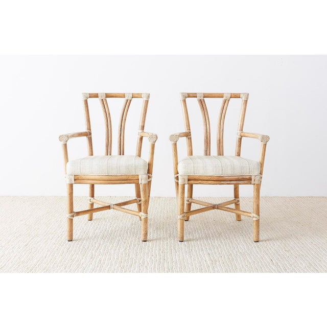 Contemporary Pair of McGuire Organic Modern Bamboo Rattan Armchairs For Sale - Image 3 of 13