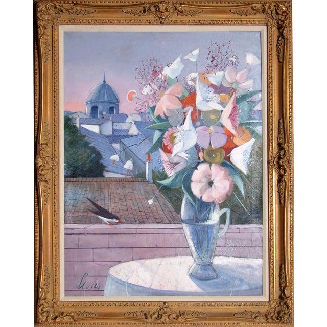 Charles Levier, Fleurs, Oil on Canvas, Signed l.l. For Sale