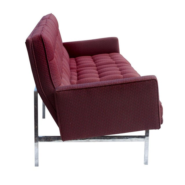 Florence Knoll Burgundy Sofa - Image 4 of 6