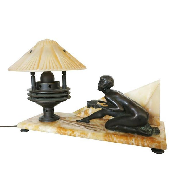 Art Deco Art Deco Styled Italian Marble Desk Lamp with Bronze Nude For Sale - Image 3 of 9