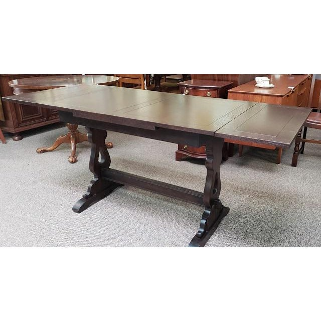 English Oak Trestle Base Draw Leaf Dining Table C.1940 For Sale - Image 4 of 7