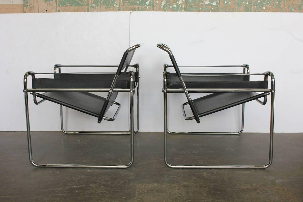 Pair Of Wassily Style Leather Chairs In The Manner Of Marcel Breuer   Image  2 Of