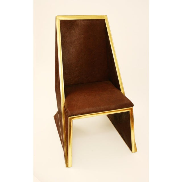 Modern Two Toned Hide Dinning Chair by MarGian Studio For Sale - Image 3 of 11