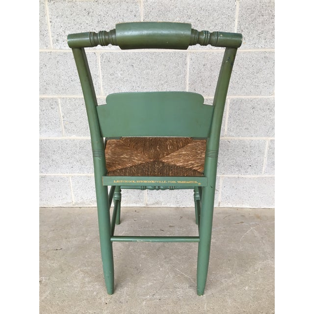 English L. Hitchcock Paint Decorated Crown Back Rush Bottom Side Chairs - a Pair For Sale - Image 3 of 6