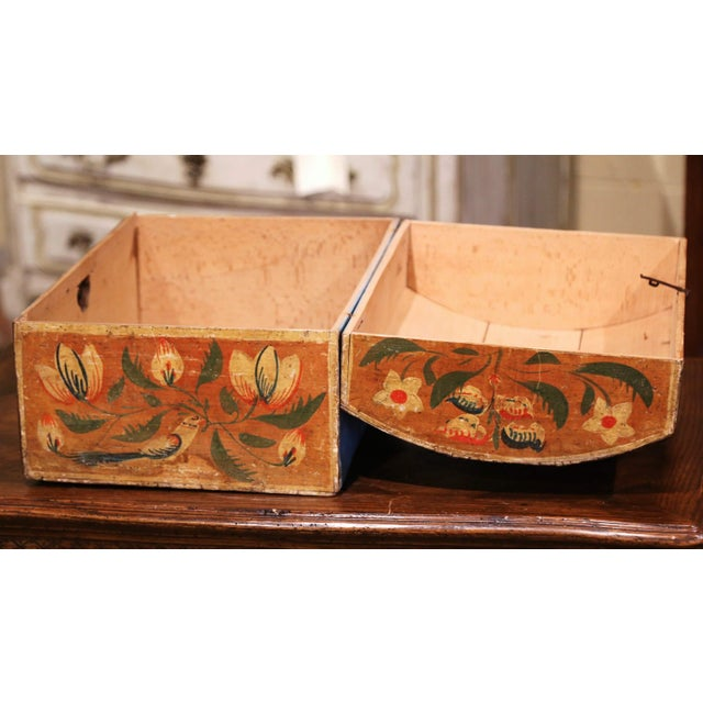 Wood 18th Century French Normand Painted Wedding Box With Bird and Floral Motifs For Sale - Image 7 of 12