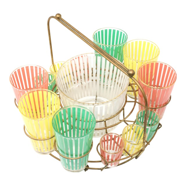Vintage MCM Pastel Stripes Cocktail and Shot Glasses Barware With Ice Bucket and Brass Caddy - Set of 14 For Sale