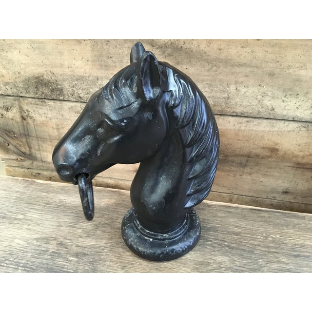 Antique Cast Iron Horse Head Hitching Post Cap For Sale - Image 5 of 7