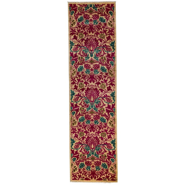 "Arts & Crafts Hand Knotted Runner - 2'7"" X 9'10"" For Sale"