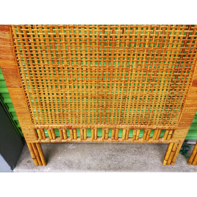 Boho Chic Handwoven Bamboo & Rattan Cane Twin Headboards - a Pair For Sale - Image 4 of 13