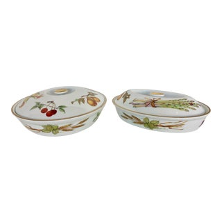 Royal Worcester Porcelain Dishes - A Pair