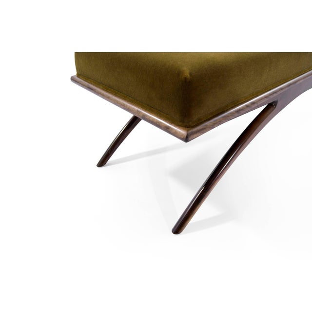 Brown Convex Bench in Olive Mohair For Sale - Image 8 of 10