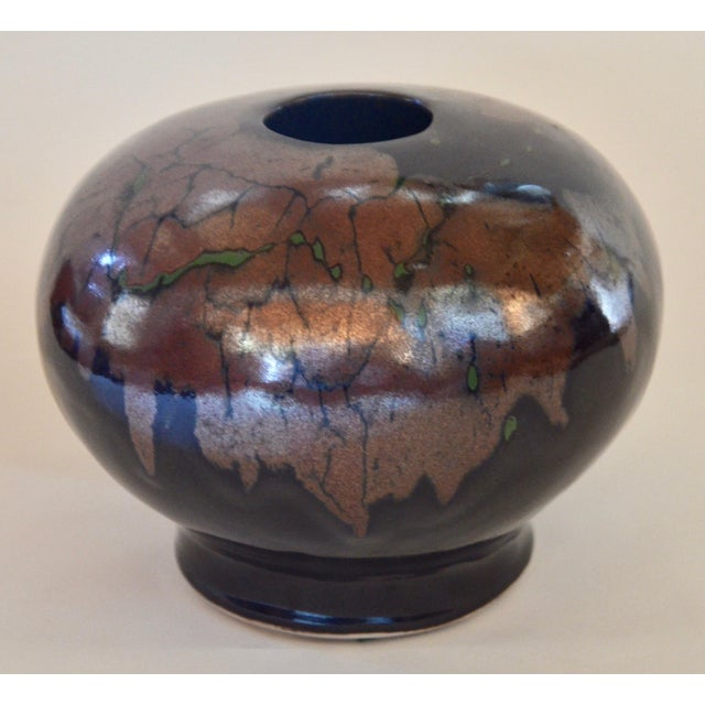 A large beautifully glazed signed pot from a Los Angeles Mid Century estate.