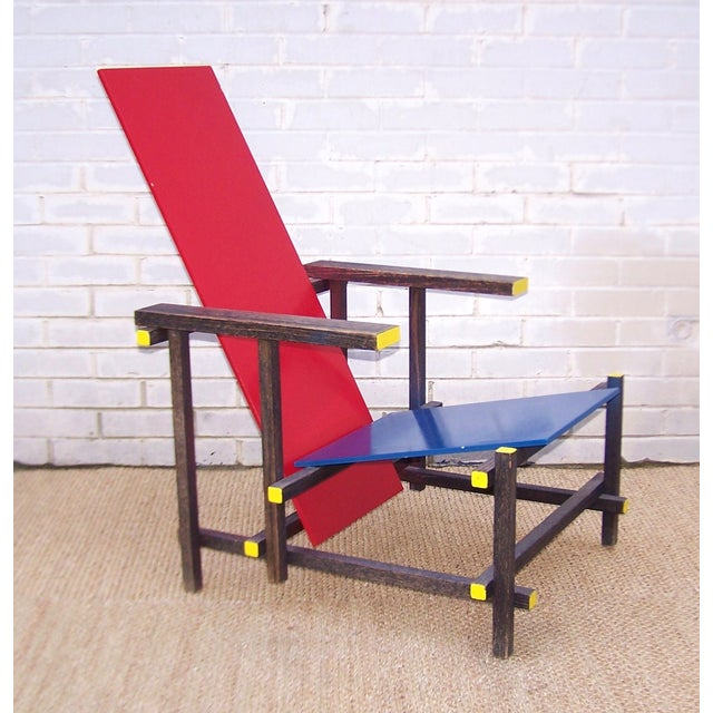 Modern Gerrit Rietveld Style Red & Blue Chair For Sale - Image 3 of 11