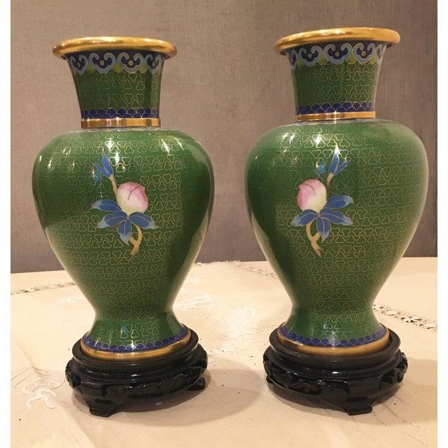 Green & Blue Floral Cloisonne Vases - A Pair - Image 4 of 8