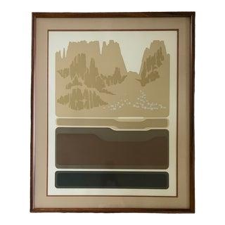 "1970s ""Golden Butte"" Minimalist Colorado Landscape Lithograph, Framed For Sale"