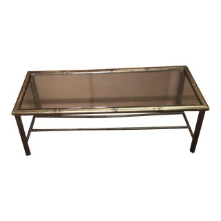 Mid-Century Modern Hollywood Regency Brass Bamboo Coffee Table For Sale