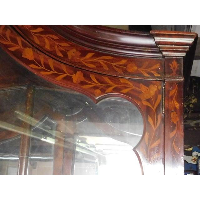 19th C. Dutch Marquetry Inlaid Display Cabinet C. 1840 W/ Glass Shelves For Sale - Image 11 of 12