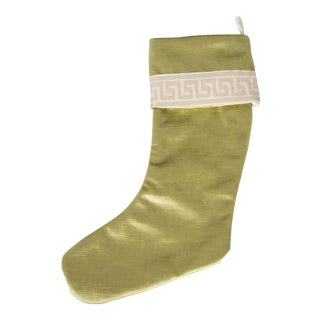 Citron Velvet and Greek Key Christmas Stocking For Sale