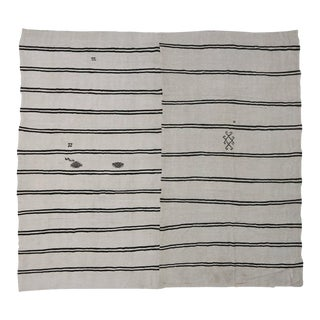 Black and Ivory Turkish Kilim Rug with Modern Style, Flatweave Kilim Rug