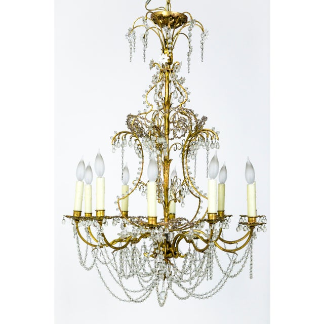 Early 20th Century French Crystal Beaded & Brass Curls Ten Light Chandelier For Sale - Image 5 of 11
