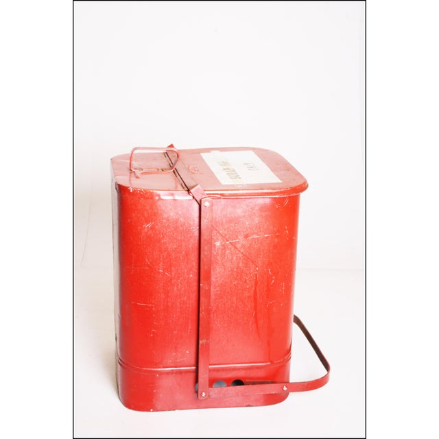 Vintage Industrial Red Metal Trash Can with Flip Top Lid - Image 5 of 11