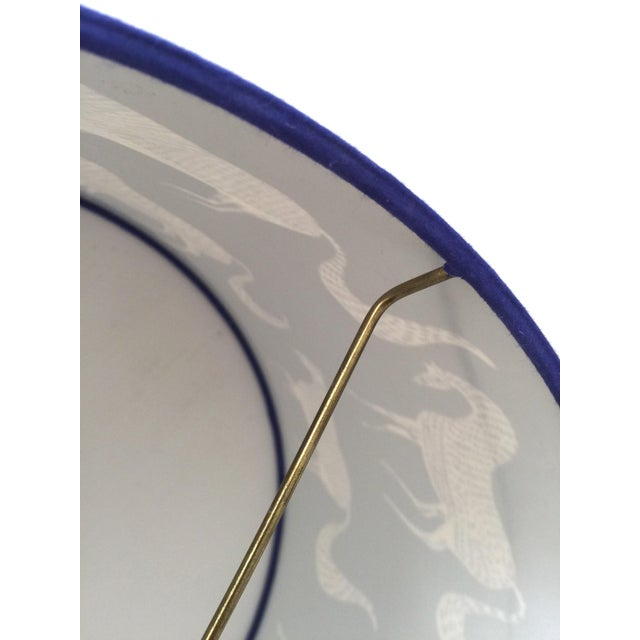 Vintage Blue Scalamandre Style Drum Lampshades With Lascaux Horse Design - a Pair For Sale - Image 9 of 12