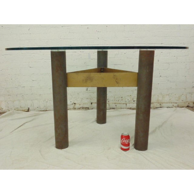 Last Call 1986 Modernage Miami Postmodern Glass & Brass Geometric Dining Table - Image 5 of 6