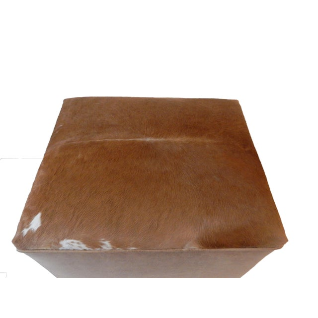 LG Cow Hide & Faux Leather Ottoman For Sale In New York - Image 6 of 10