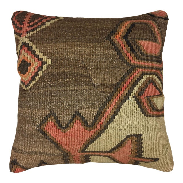 """Brown and Blush Vintage Kilim Pillow   16"""" For Sale"""