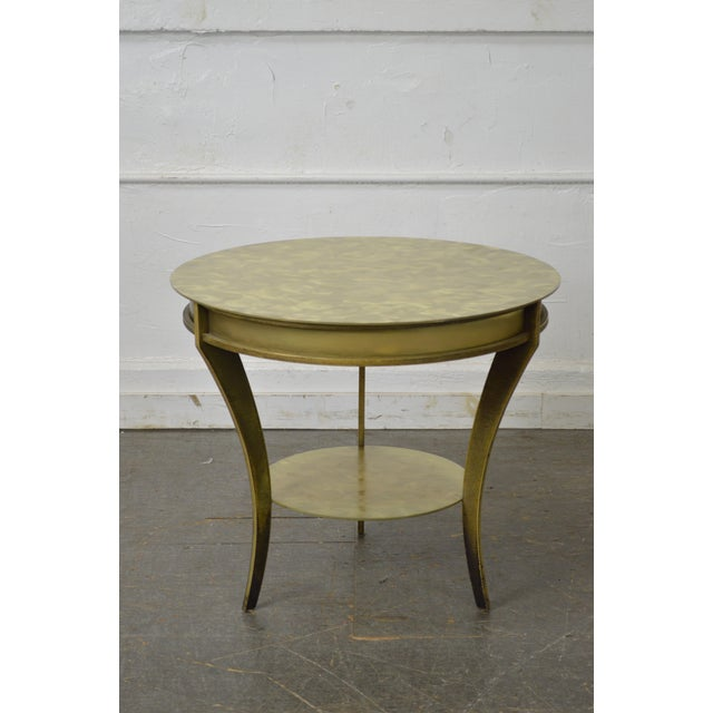 Studio Custom Crafted Pair of Brushed Steel Gold Finish Round Side Tables - Image 2 of 10