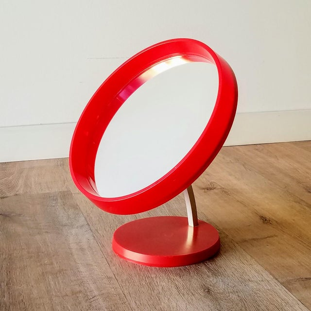 1970s Red Danish Termotex Tilt Table Mirror For Sale - Image 9 of 9